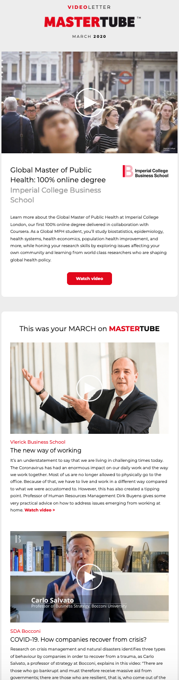Videoletter March 2020